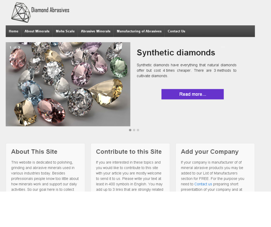 Diamond Abrasives and Mineral Polishers web site